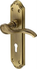 Heritage Verona MM624 Door Lock Handles Antique Brass Lacquered