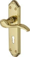 Heritage Verona MM624 Door Lock Handles Polished Brass Lacquered