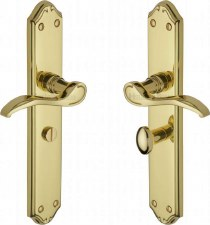Heritage Verona Long Bathroom Door Handles MM828 Polished Brass Lacq