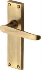 Heritage Victoria Latch Door Handles V3913 Antique Brass Lacquered