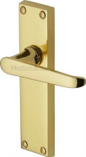 Heritage Victoria Latch Door Handles V3913 Polished Brass Lacquered