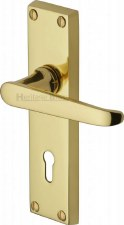 Heritage Victoria Door Lock Handles V3900 Polished Brass Lacquered