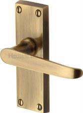 Heritage Victoria Short Latch Door Handles V3910 Antique Brass Lacquered