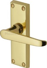 Heritage Victoria Short Latch Door Handles V3910 Polished Brass Lacquered