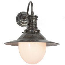 Victoria Station Lamp Antique Brass with Opal Glass