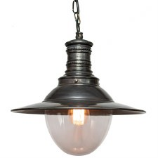 Victoria Station Hanging Lamp Antique Brass with Clear Glass
