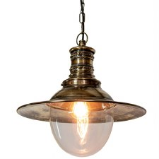 Victoria Station Hanging Lamp Light Antique Brass with Clear Glass