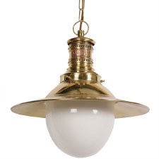 Victoria Station Hanging Lamp Polished Brass with Opal Glass