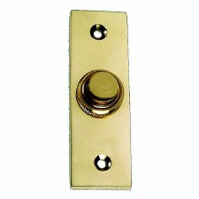 Slim Victorian Door Bell Push Polished Brass