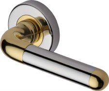 Heritage Vienna Round Rose Door Handles VIE1920 Pol Chrome & Brass