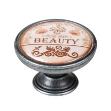 "Vintage Chic ""Beauty"" Cupboard Knob Old Silver"