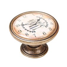 Vintage Chic Clock Cupboard Knob Antique Brass