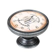 Vintage Chic Clock Cupboard Knob Old Silver