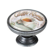 Vintage Chic Caffe Roma Cupboard Knob Old Silver