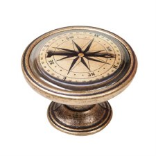 Vintage Chic Compass Cupboard Knob Antique Brass