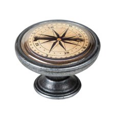 Vintage Chic Compass cupboard Knob Old Silver