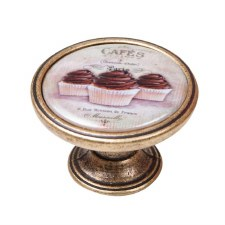 Vintage Chic Cup Cakes Cupboard Knob Antique Brass