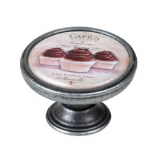 Vintage Chic Cup Cakes Cupboard Knob Old Silver