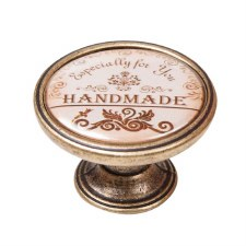 "Vintage Chic ""Handmade"" Cupboard Knob Antique Brass"