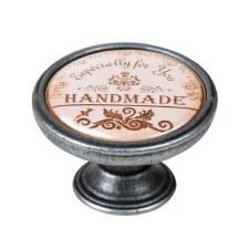 "Vintage Chic ""Handmade"" Cupboard Knob Old Silver"