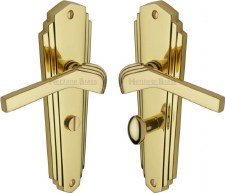Heritage Waldorf WAL630 Bathroom Handles Polished Brass Lacquered