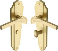 Heritage Waldorf Bathroom Door Handles WAL6530 Satin Brass Lacquered