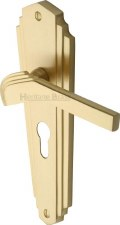 Heritage Waldorf Euro Lock Door Handles WAL6548 Satin Brass Lacquered