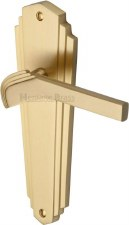 Heritage Waldorf Latch Door Handles WAL6510 Satin Brass Lacquered