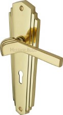 Heritage Waldorf WAL6500 Door Lock Handles Polished Brass Lacquered
