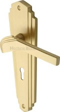 Heritage Waldorf Door Handles LO WAL6500 Satin Brass Lacquered