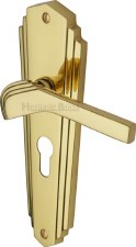 Heritage Waldorf WAL6548 Euro Handles Polished Brass Lacquered