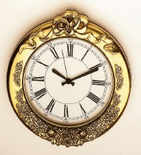 Floral Decorated Brass Clock