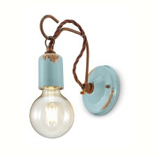 Italian Ceramic Wall Light C665 Vintage Azzurro