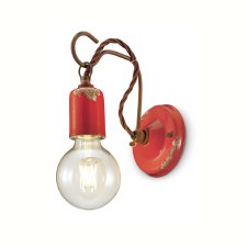 Italian Ceramic Wall Light C665 Vintage Rosso