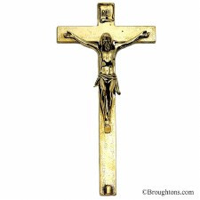 Wall Mounded Crucifix Polished Brass