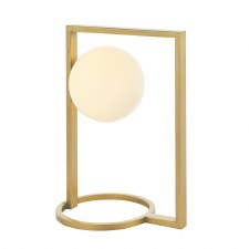Warmwell Geo Table Lamp Brushed Gold & Opal Glass