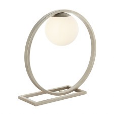 Warmwell Geo Table Lamp Brushed Silver & Opal Glass