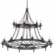 Elstead Warwick 18 Light 2 Tier Chandelier Graphite Black