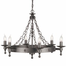 Elstead Warwick 6 Light Chandelier Graphite Black