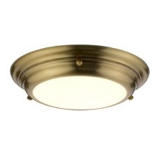Elstead Welland Bathroom Mini Flush Aged Brass