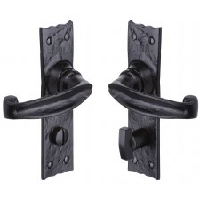 Heritage Tudor Wellington Bathroom Door Handles TC620 Black Ironwork