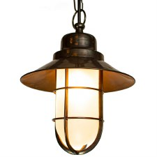 Wheelhouse Pendant Antique Brass Opal Glass