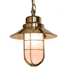 Wheelhouse Pendant Polished Brass Opal Glass