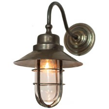 Wheelhouse Outdoor Wall Lantern Antique Brass Clear Glass