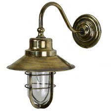 Wheelhouse Outdoor Wall Lantern, Light Antique Brass Clear Glass