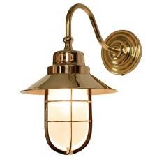 Wheelhouse Outdoor Wall Lantern Polished Brass Opal Glass