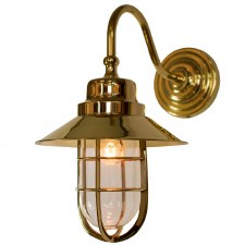 Wheelhouse Outdoor Wall Light Lantern, Polished Brass