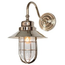 Wheelhouse Outdoor Wall Lantern Nickel Clear Glass