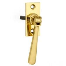 Croft Espagnolette Window Handle Polished Brass Lacquered