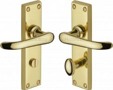 Heritage Windsor Bathroom Door Handles V730 Polished Brass Lacquered